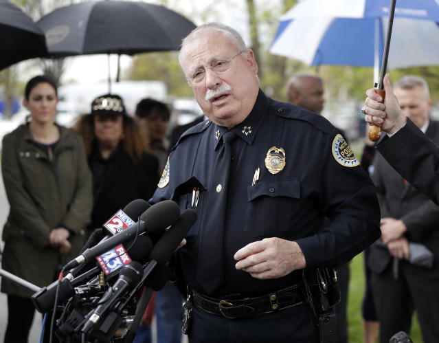 <p>Metropolitan Nashville Police Chief Steve Anderson speaks at a news conference Monday, April 23, 2018, in Nashville, Tenn., regarding the capture of Travis Reinking. (Photo: Mark Humphrey/AP) </p>