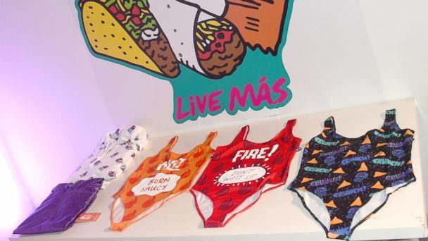 PHOTO: A few items from the limited-edition Taco Bell, Forever 21 line are seen on display. (Regina Wu)