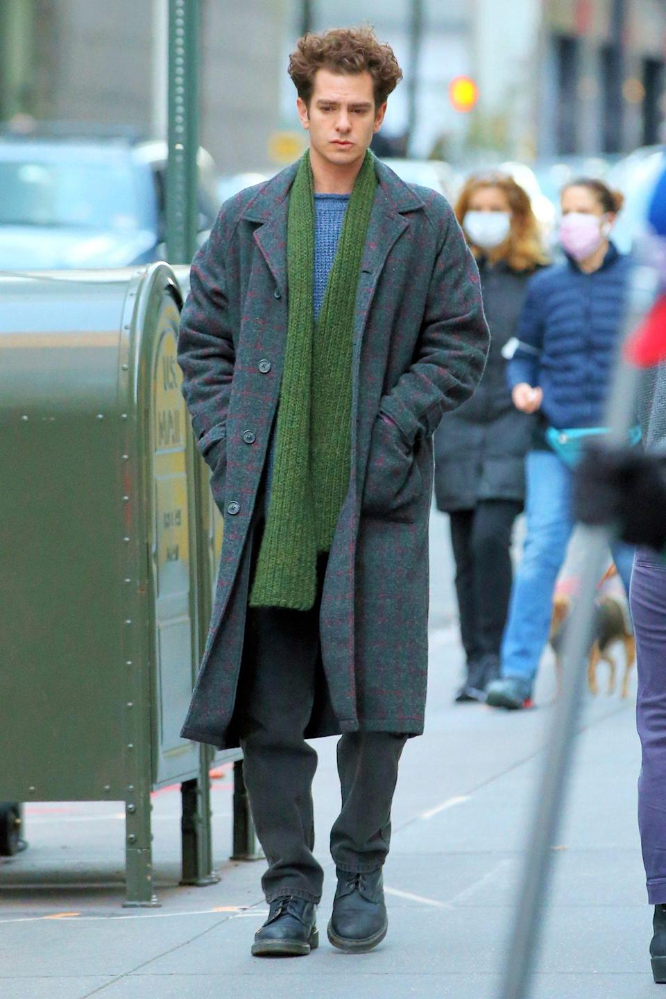 <p>Andrew Garfield is seen in character filming<em> Tick Tick Boom</em> on Monday in N.Y.C.</p>