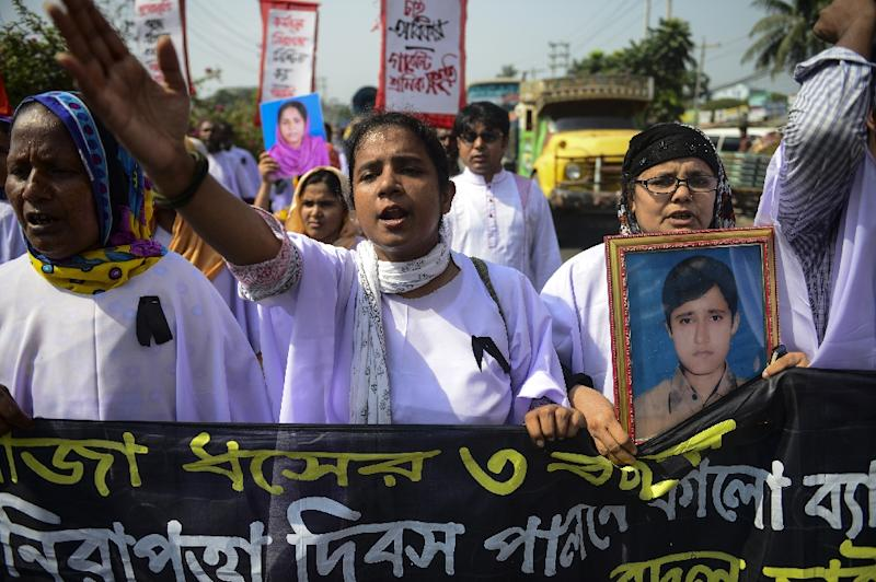 A protest in Dhaka in April on the third anniversary of the Rana Plaza garment factory disaster that killed over 1,100 people