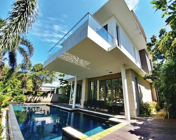 A view of the private swimming pool of the double-storey bungalow on Paradise Island