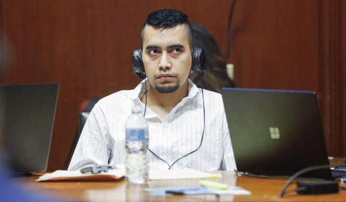 Cristhian Bahena Rivera listens his murder trial at the Scott County Courthouse in Davenport, Iowa, on Wednesday, May 19, 2021. Rivera is charged with first-degree murder in the death of Mollie Tibbetts. (Jim Slosiarek/The Gazette via AP, Pool)