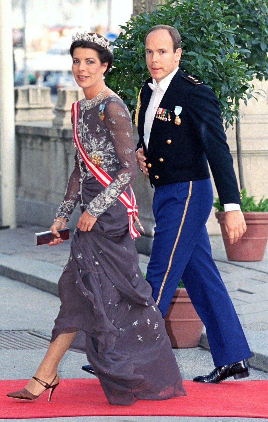 <p>Princess Caroline, who doesn't often wear tiaras, wore her grandmother Princess Charlotte's Cartier Pearl Drop Tiara (along with her Diamond Fringe Tiara, which Caroline exclusively wears as a necklace) for the 50th birthday celebrations of Sweden's King Carl Gustav in 1996.</p>