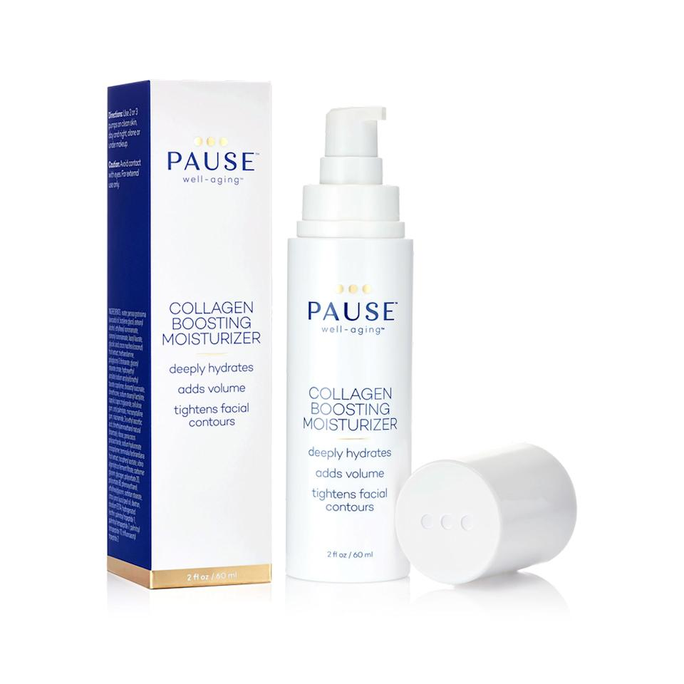 "<p>A spray to the face and chest of Pause Well-Aging's <a href=""https://pausewellaging.com/collections/skincare/products/hot-flash-cooling-mist"" rel=""nofollow"">Hot Flash Cooling Mist</a> is like a peck on the cheek from Elsa, relieving the burning-from-the-inside misery. Collagen Boosting Moisturizer tightens facial contours and increases elasticity with a blend of vitamins, antioxidants, and peptides. Like a futuristic gua sha stone, the <a href=""https://pausewellaging.com/collections/skincare/products/fascia-stimulating-tool"" rel=""nofollow"">Fascia Stimulating Tool</a> massages the face, neck, and chest to kick-start collagen-making fibroblasts.</p> <p><strong>$72</strong> (<a href=""https://pausewellaging.com/collections/skincare/products/collagen-boosting-moisturizer"" rel=""nofollow"">Shop Now</a>)</p>"