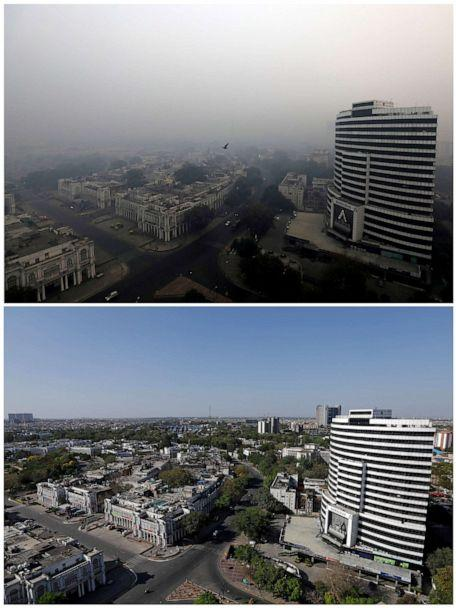 PHOTO: A combo shows buildings on November 8, 2018 and after air pollution level started to drop during a 21-day nationwide lockdown to slow the spreading of coronavirus disease (COVID-19), in New Delhi, India, April 8, 2020.  (Anushree Fadnavis|Adnan Abidi/Reuters, FILE)