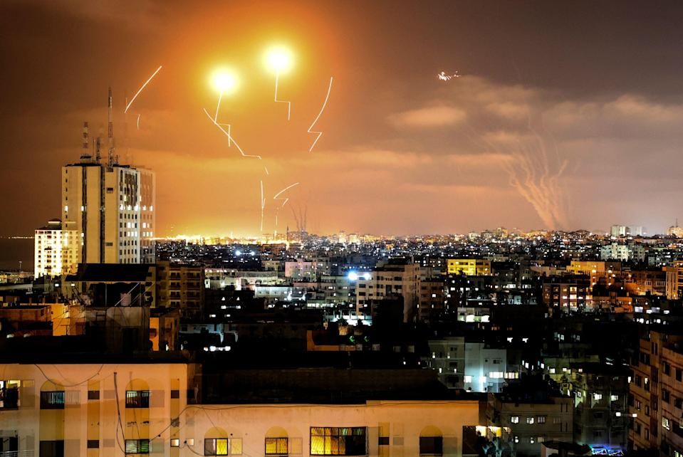 Rockets fly above the cityAFP via Getty Images