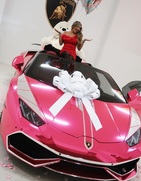 "<p>""I can't believe that I'm officially the owner of the one and only chrome pink Lamborghini Huracan Spyder in the world,"" she captioned the image. Photo: Instagram/misslambodoc </p>"