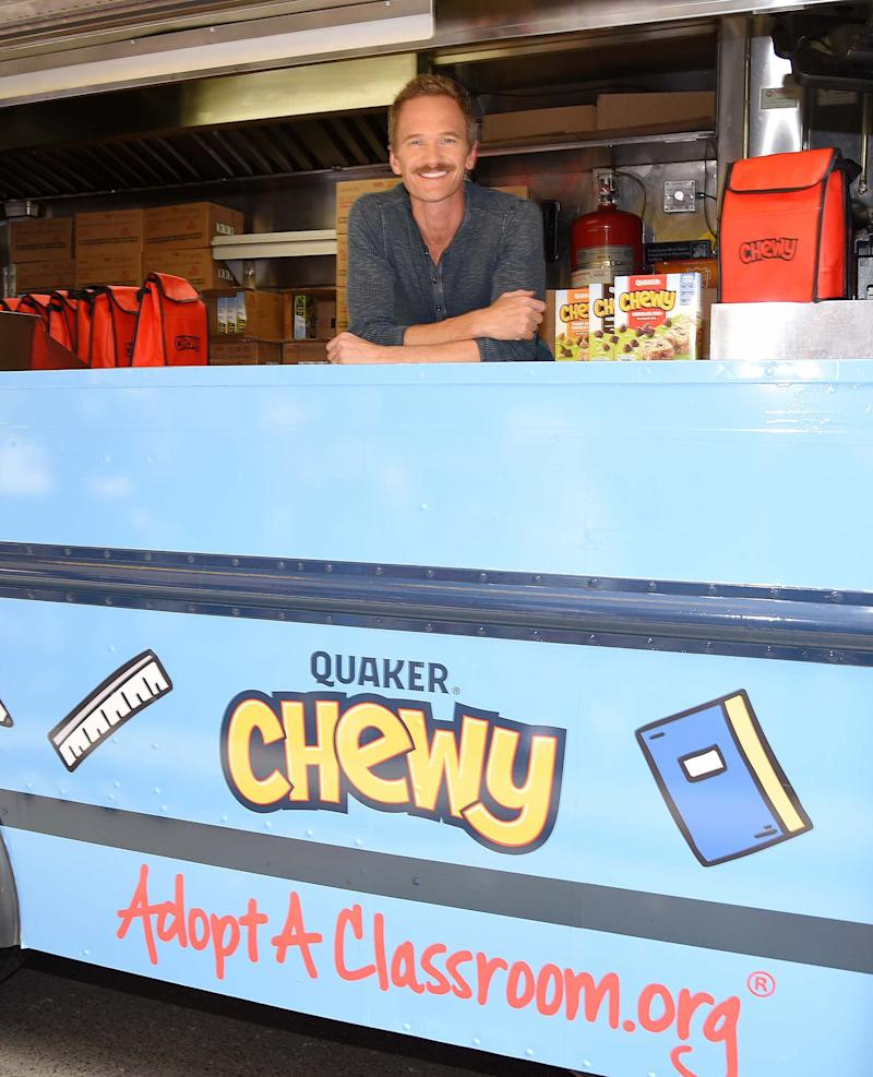 - New York, NY - 09/04/2019 -Neil Patrick Harris spotted at the Quaker Chewy food truck in New York City to celebrate wholesome snacking and the brand's partnership with AdoptAClassroom.org.-PICTURED: Neil Patrick Harris-PHOTO by: Michael Simon/startraksphoto.com-MS95883Editorial - Rights Managed Image - Please contact www.startraksphoto.com for licensing fee Startraks PhotoStartraks PhotoNew York, NY For licensing please call 212-414-9464 or email sales@startraksphoto.comImage may not be published in any way that is or might be deemed defamatory, libelous, pornographic, or obscene. Please consult our sales department for any clarification or question you may haveStartraks Photo reserves the right to pursue unauthorized users of this image. If you violate our intellectual property you may be liable for actual damages, loss of income, and profits you derive from the use of this image, and where appropriate, the cost of collection and/or statutory damages.