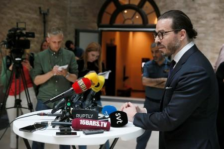 Slobodan Jovicic, ASAP Rocky's lawyer, talks to media after the arrest proceedings against the artist  at the Kronoberg custody in Stockholm