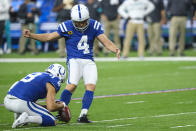 Indianapolis Colts' Adam Vinatieri (4) kicks a field goal from the hold of Rigoberto Sanchez during the second half of the team's NFL football game against the Miami Dolphins in Indianapolis, Sunday, Nov. 10, 2019. (AP Photo/AJ Mast)