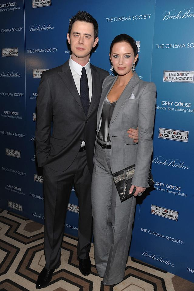 """<a href=""""http://movies.yahoo.com/movie/contributor/1800355564"""">Colin Hanks</a> and <a href=""""http://movies.yahoo.com/movie/contributor/1808577445"""">Emily Blunt</a> at the New York Cinema Society screening of <a href=""""http://movies.yahoo.com/movie/1809736206/info"""">The Great Buck Howard</a> - 03/10/2009"""