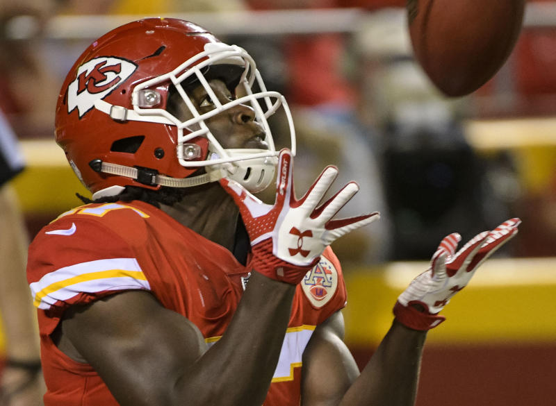 Kansas City Chiefs running back Kareem Hunt lost a fumble on his first NFL touch. (AP)