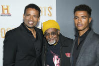 """FILE - Mario Van Peebles, from left, Melvin Van Peebles and Mandela Van Peebles attend History Channel's """"Roots"""" mini-series premiere at Alice Tully Hall on Monday, May 23, 2016, in New York. Melvin Van Peebles, a Broadway playwright, musician and movie director whose work ushered in the """"blaxploitation"""" films of the 1970s, has died at age 89. His family said in a statement that Van Peebles died Tuesday night, Sept. 21, 2021, at his home. (Photo by Charles Sykes/Invision/AP, File)"""