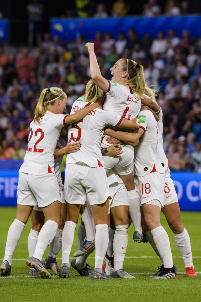Lucy Bronze of England (H) celebrates her goal with teammates during the 2019 FIFA Women's World Cup France Quarter Final match between Norway and England at on June 27, 2019 in Le Havre, France. (Photo by Marcio Machado/Getty Images)
