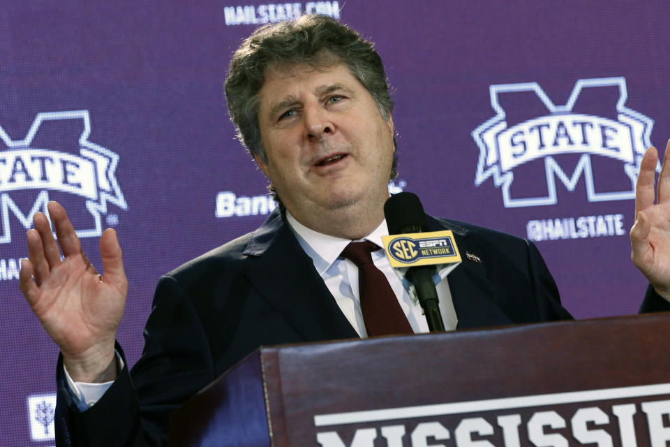 New Mississippi State NCAA college football head coach Mike Leach speaks at a news conference Friday, Jan. 10, 2020, at the Starkville, Miss., based university, after being officially introduced as the head coach. (AP Photo/Rogelio V. Solis)