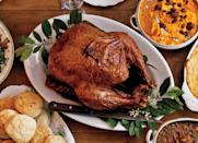 """You know what they say about good things taking time, right? Well, Plan at least one day ahead to let the turkey—seasoned with the homemade Cajun spice mix—cure overnight. """"Family fave for Thanksgiving!,"""" writes one anonymous reviewer. <a href=""""https://www.bonappetit.com/recipe/cajun-spiced-turkey?mbid=synd_yahoo_rss"""" rel=""""nofollow noopener"""" target=""""_blank"""" data-ylk=""""slk:See recipe."""" class=""""link rapid-noclick-resp"""">See recipe.</a>"""