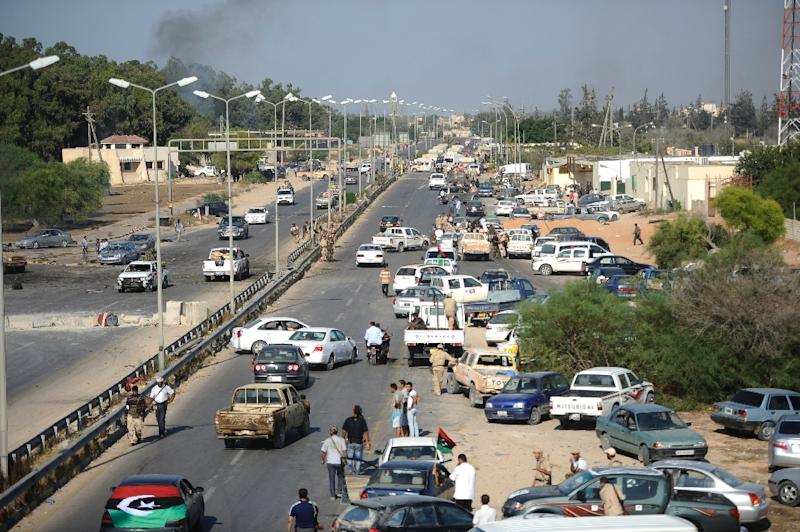 A picture taken on August 21, 2011 from a bridge in western Tripoli as Libyan rebels said victory in the capital was imminent, the same day dozens of demonstrators were killed