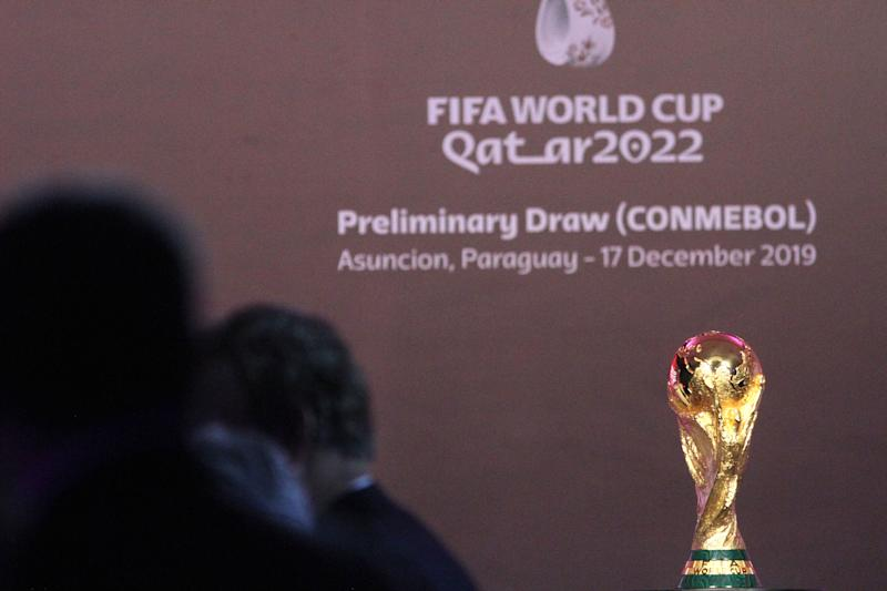 ASUNCION, PARAGUAY - DECEMBER 17: The FIFA World Cup trophy is displayed during the draw of the South American Qualifiers for Qatar 2022 at Centro de Convenciones de CONMEBOL on December 17, 2019 in Asuncion, Paraguay. (Photo by Luis Vera/Getty Images)