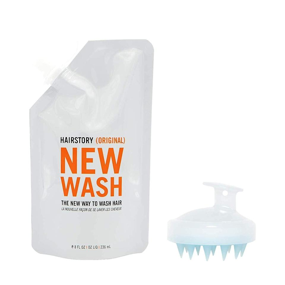 <p>This <span>Hairstory New Wash (Original) Hair Cleanser and Conditioner, 8oz Pouch + Scalp Brush</span> ($50) has equal parts cleanser and conditioner, so it is a good place to start if your hair is neither extra dry nor extra greasy. </p>