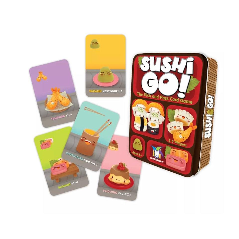 "A mom who's played 3,028 hands of this game <em>promises</em> that it's easy enough for kids as young as 6, but engaging enough to keep big kids and parents entertained. $9, Target. <a href=""https://www.target.com/p/sushi-go-card-game/-/A-17070410"" rel=""nofollow noopener"" target=""_blank"" data-ylk=""slk:Get it now!"" class=""link rapid-noclick-resp"">Get it now!</a>"