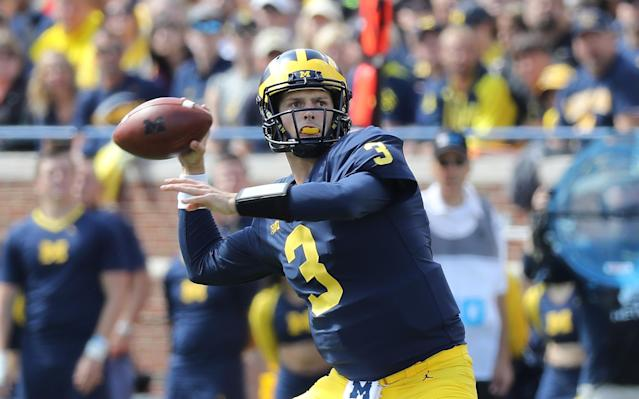 Former Michigan quarterback Wilton Speight could be a nice stopgap for UCLA in its first season with Chip Kelly as head coach. (Getty Images)