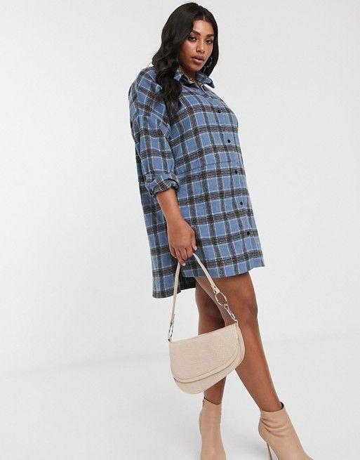 """<p><strong>Missguided Plus</strong></p><p>us.asos.com</p><p><strong>$25.20</strong></p><p><a href=""""https://go.redirectingat.com?id=74968X1596630&url=https%3A%2F%2Fwww.asos.com%2Fus%2Fmissguided-plus%2Fmissguided-plus-oversized-shirt-dress-in-brushed-check%2Fprd%2F14332606&sref=https%3A%2F%2Fwww.cosmopolitan.com%2Fstyle-beauty%2Ffashion%2Fg32678355%2Fflannel-outfits-how-to-wear%2F"""" rel=""""nofollow noopener"""" target=""""_blank"""" data-ylk=""""slk:Shop Now"""" class=""""link rapid-noclick-resp"""">Shop Now</a></p><p>A blue-and-gray dress looks so good with neutral accessories; plus, you can always undo some buttons and show off a cute bralette underneath. </p>"""