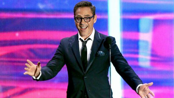 PHOTO: Robert Downey Jr. speaks onstage during the 2015 Jaguar Land Rover British Academy Britannia Awards presented by American Airlines at The Beverly Hilton Hotel, Oct. 30, 2015 in Beverly Hills, Calif. (Mark Davis/Getty Images)