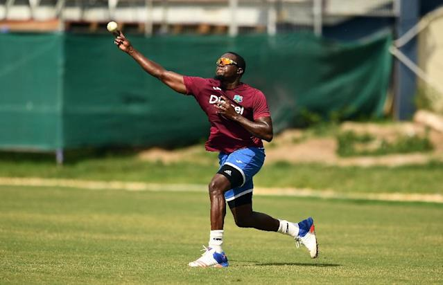 West Indies' Jerome Taylor throws a ball during a practice session at the Queen's Park Oval in Port of Spain, Trinidad, in March 2017 (AFP Photo/Jewel SAMAD)