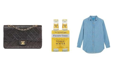 Chanel handbag, fever tree, denim shirt