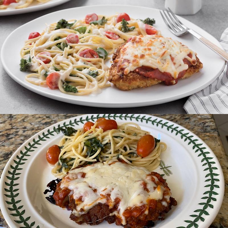 Top: Chick-fil-A Chicken Parmesan marketing photo; Bottom: Yahoo Finance's cooked version.