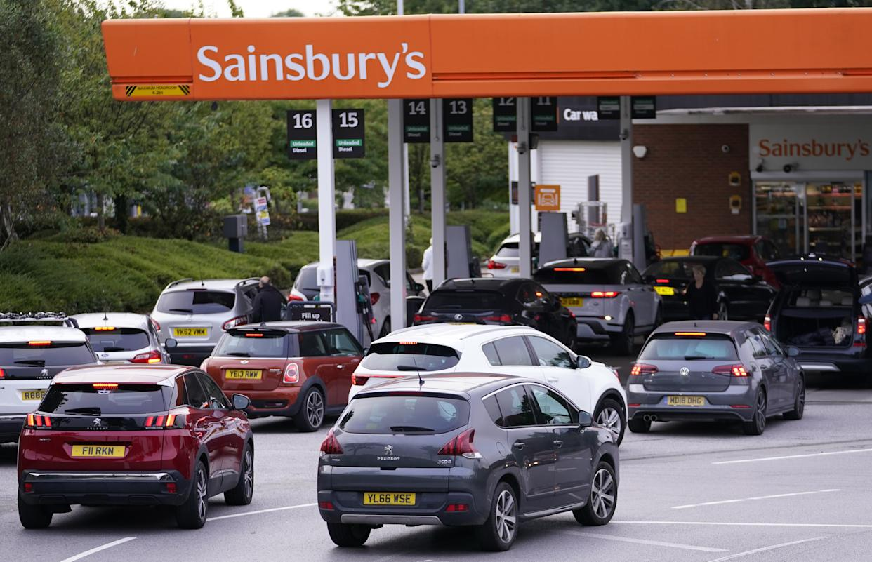 EMBARGOED TO 0001 MONDAY SEPTEMBER 27 File photo dated 24/09/21 of queues at a Sainsbury's Petrol Station in Colton, Leeds. Consumers have learnt lessons from stockpiling over lockdown but more should be done to help them understand the effect they can have on supply chains, according to a sector expert. Issue date: Monday September 27, 2021.