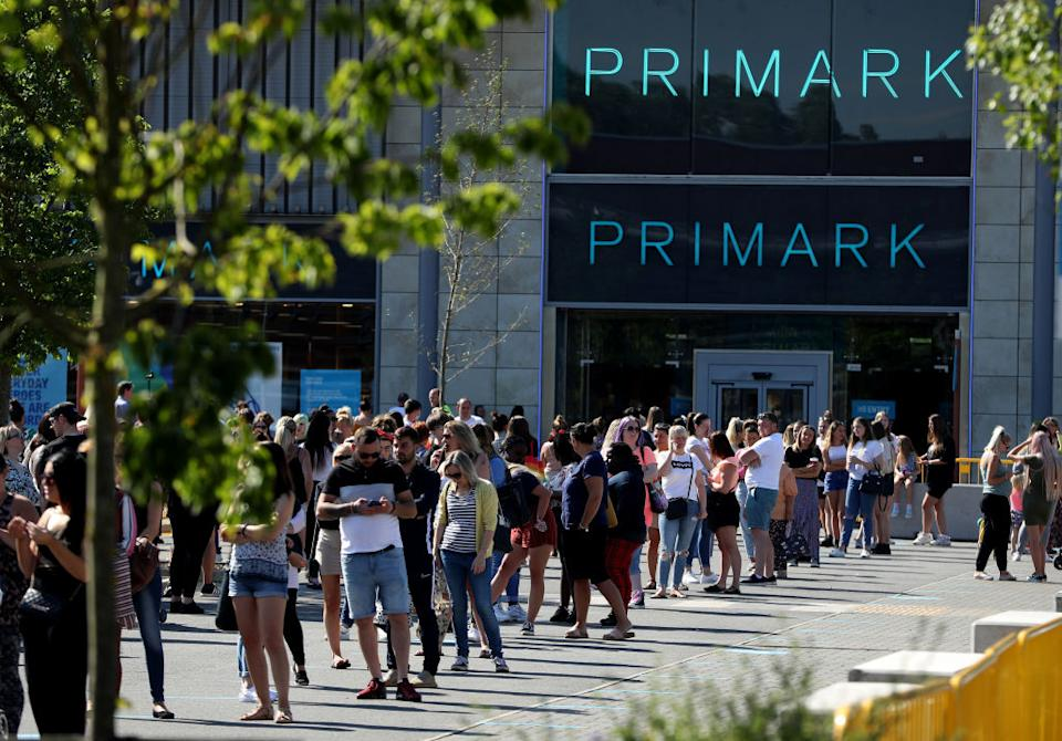 Primark saw huge queues this morning as stores reopened in England. (Getty Images)