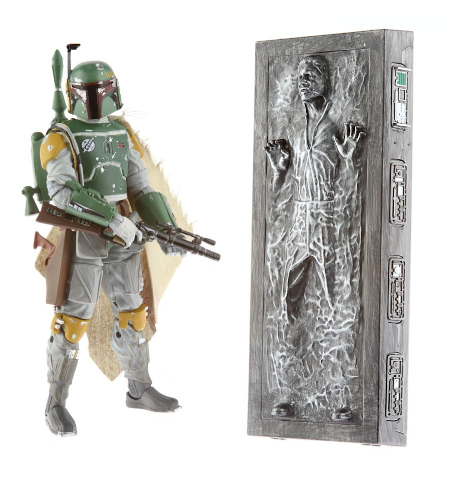 "STAR WARS....THE..BLACK SERIES 6-INCH BOBA FETT.....ACTION FIGURE WITH HAN SOLO.....IN CARBONITE..ACCESSORY.(Approximate Retail Price: $44.99; Ages 4 & up; Available through..HYPERLINK ""http://hasbrotoyshop.com/""HasbroToyShop.com, Booth #3329 at Comic-Con International in San Diego).In 2013, Hasbro takes collectible..STAR WARS..action figures to the next level with the introduction of THE BLACK SERIES action figure line! For the first time ever, Hasbro is introducing a 6-inch scale of the greatest characters from the..STAR WARS..universe, and fans will have their first opportunity to..start their..BLACK SERIES 6-inch figure..collection..at San Diego Comic-Con with the BOBA FETT action figure which comes with HAN SOLO IN CARBONITE accessory. Following the convention, a limited number will be available on HasbroToyShop.com."