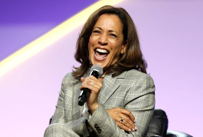Sen. Kamala Harris (D-Calif.) laughs during the presidential candidate forum at the annual convention of the National Association for the Advancement of Colored People in Detroit, Michigan, on July 24, 2019. (Photo: Rebecca Cook / reuters)
