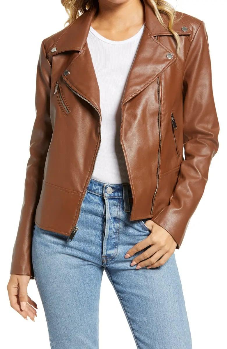 <p>We love the brown shade of this <span>French Connection Faux Leather Moto Jacket</span> ($99).</p>