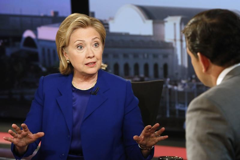 Clinton sits for a live interview with Baier at the FOX News Channel studio in Washington