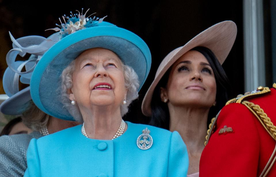 LONDON, ENGLAND - JUNE 09:  Queen Elizabeth II and Meghan, Duchess of Sussex during Trooping The Colour 2018 on June 9, 2018 in London, England. (Photo by Mark Cuthbert/UK Press via Getty Images)