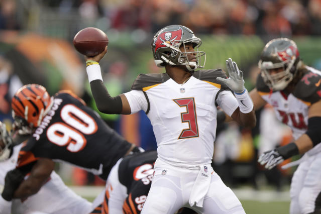 Tampa Bay Buccaneers quarterback Jameis Winston threw four interceptions, further clouding his future with the team. (AP)