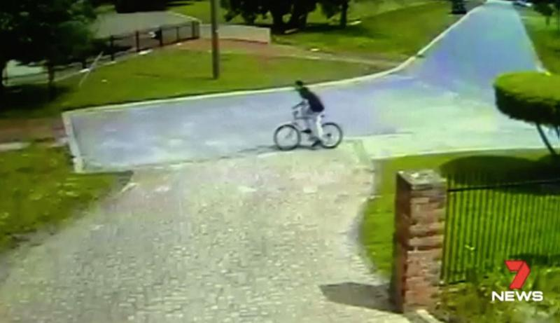 Security cameras capture the culprit on his cycle. Source: 7 News