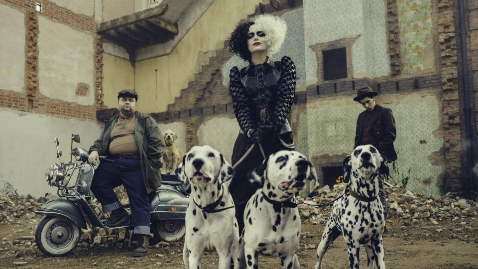 L-R: Paul Walter Hauser, Emma Stone, and Joel Fry in Cruella (Disney)