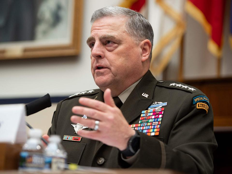 General Mark Milley, Chairman of the Joint Chiefs of Staff, testifies on the department's fiscal year 2022 budget request. (AFP via Getty Images)