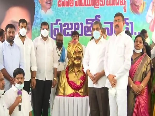 A visual from YSRCP celebrations at party office in Amaravati. Photo/ANI