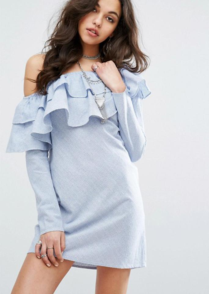 """Missguided One Shoulder Double Ruffle Shift Dress, $38; at <a rel=""""nofollow"""" href=""""http://us.asos.com/missguided/missguided-one-shoulder-double-ruffle-shift-dress/prd/7750592?iid=7750592&clr=Blue&cid=12971&pgesize=36&pge=0&totalstyles=111&gridsize=3&gridrow=8&gridcolumn=3"""" rel="""""""">ASOS</a>"""