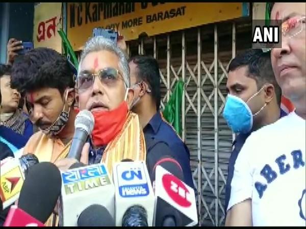 West Bengal BJP chief Dilip Ghosh speaking to media on Tuesday. [Photo/ANI]