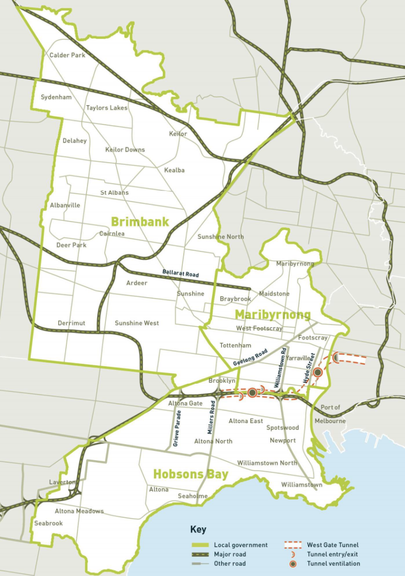The three areas in Melbourne's inner west impacted by poor air quality. Source: IWAQG report