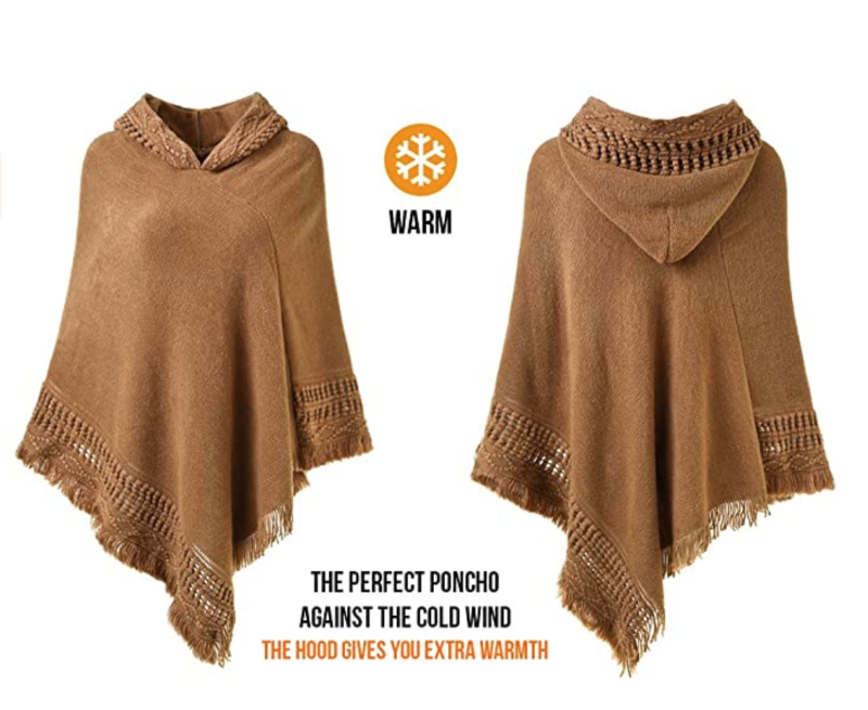 Ferand Hooded Crochet Poncho in Camel (Photo via Amazon)