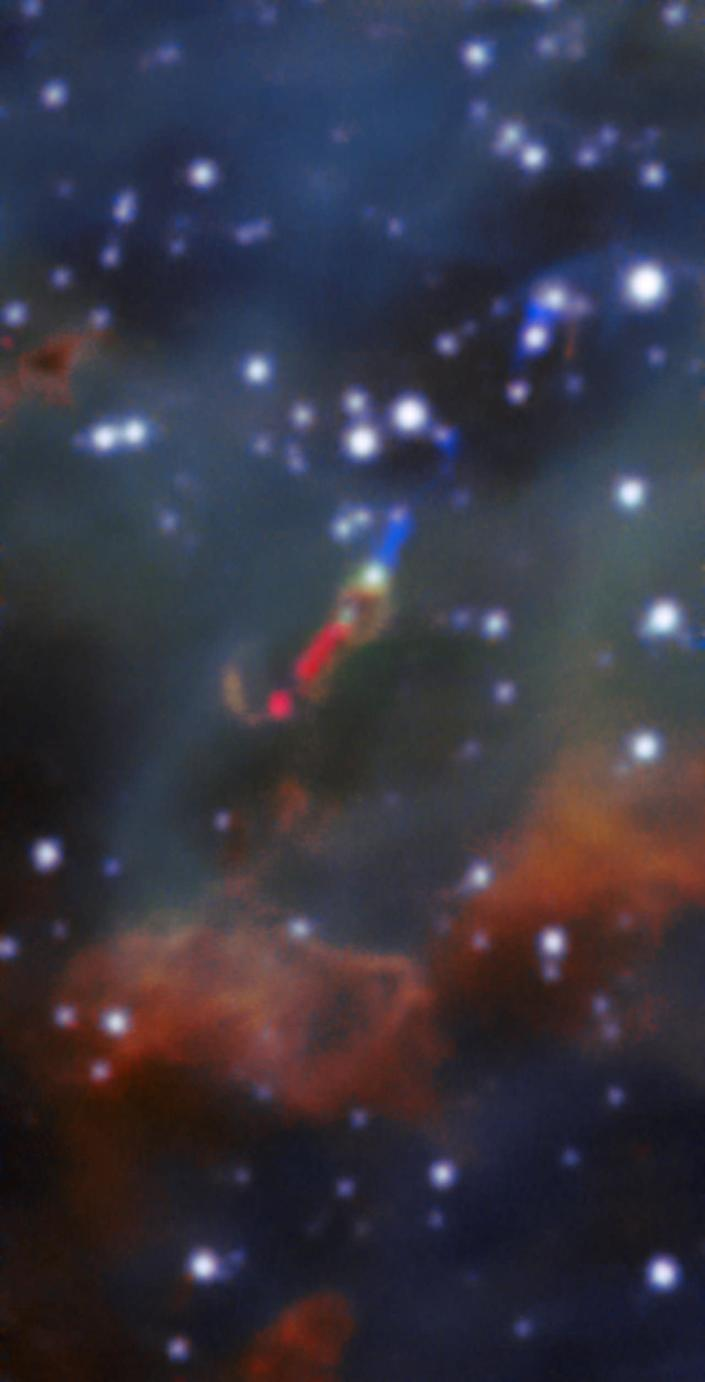 A jet of material spewed by a massive young star stretches nearly 33 light-years in length. This is the first time such a jet has been spotted in visible light outside of the Milky Way. <cite>A. McLeod et al./ESO</cite>
