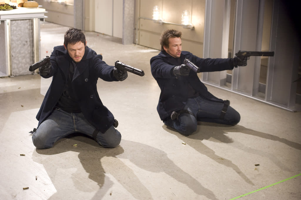 """<a href=""""http://movies.yahoo.com/movie/contributor/1800019326"""">Norman Reedus</a> and <a href=""""http://movies.yahoo.com/movie/contributor/1800018743"""">Sean Patrick Flanery</a> in Apparition's <a href=""""http://movies.yahoo.com/movie/1810046633/info"""">The Boondock Saints II: All Saints Day</a> - 2009"""