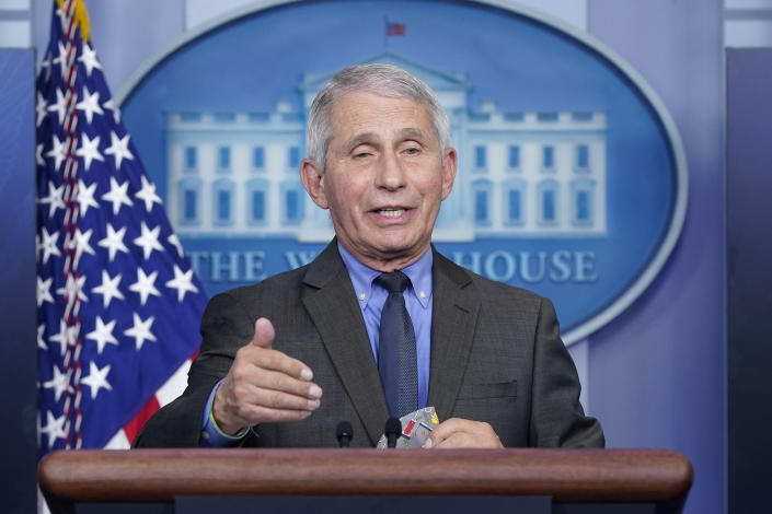 FILE - In this April 13, 2021 file photo, Dr. Anthony Fauci, director of the National Institute of Allergy and Infectious Diseases, speaks during a press briefing at the White House, in Washington. Fauci is participating along with soprano Renee Fleming, the CEOs of Pfizer and Moderna and the lead guitarist of Aerosmith among others in a unique three-day Vatican conference starting Thursday, May 6, 2021, on COVID-19, other global health threats and how science, solidarity and spirituality can address them. (AP Photo/Patrick Semansky, file)