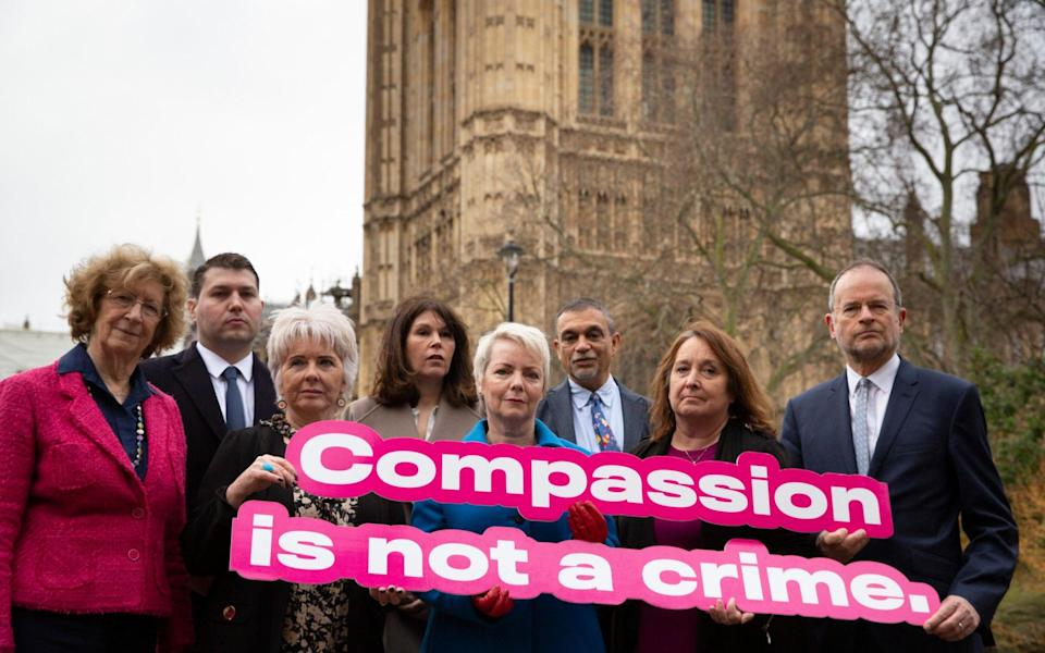 Pro-assisted dying campaigners, including Baroness Meacher, Maureen Hogg, Karin Smyth, Christine Jardine and Paul Blomfield, Alex Hogg, Sarah Wootton, Aneez Esmail - Heathcliff O'Malley